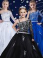 Black Zipper Flower Girl Dresses for Less Beading Sleeveless Floor Length