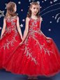 Fabulous Red Ball Gowns Organza Scoop Sleeveless Beading and Appliques Ankle Length Zipper Little Girls Pageant Dress
