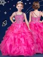 Asymmetric Sleeveless Flower Girl Dresses Floor Length Beading and Ruffles Hot Pink Organza