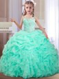 Pretty Straps Floor Length Apple Green Child Pageant Dress Organza Sleeveless Beading and Ruffles and Pick Ups