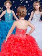 Customized White and Coral Red and Blue Organza Lace Up Halter Top Sleeveless Floor Length Little Girls Pageant Dress Wholesale Beading and Ruffles