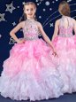 Best Halter Top Sleeveless Zipper Floor Length Beading and Ruffles Flower Girl Dress