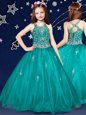 Teal Flower Girl Dresses for Less Quinceanera and Wedding Party and For with Beading Scoop Sleeveless Zipper