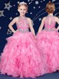 Halter Top Rose Pink Zipper Little Girl Pageant Gowns Beading and Ruffles Sleeveless Floor Length