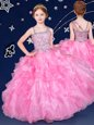 Floor Length Ball Gowns Sleeveless Rose Pink Flower Girl Dresses for Less Zipper