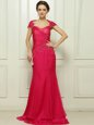Cap Sleeves Chiffon With Train Sweep Train Backless Prom Gown in Hot Pink for with Beading