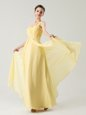 Ideal One Shoulder Light Yellow Chiffon Zipper Prom Gown Sleeveless Ankle Length Beading and Ruching