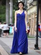 One Shoulder Floor Length Royal Blue Prom Evening Gown Chiffon Sleeveless Beading and Ruching