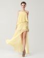 One Shoulder Yellow Sleeveless High Low Beading and Ruching Zipper Prom Evening Gown