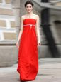 Artistic Strapless Sleeveless Zipper Prom Evening Gown Coral Red Chiffon