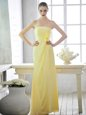 New Style Floor Length Light Yellow Hoco Dress Strapless Sleeveless Lace Up