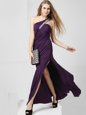 One Shoulder Purple Sleeveless Chiffon Criss Cross Prom Dress for Prom and Party