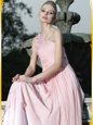 Hot Selling One Shoulder Floor Length Baby Pink Prom Dress Chiffon Sleeveless Ruching and Hand Made Flower
