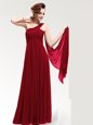 Fashionable One Shoulder Wine Red Sleeveless Ruching Floor Length Prom Dresses
