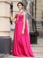 New Style One Shoulder Sleeveless Chiffon With Brush Train Zipper Prom Evening Gown in Hot Pink for with Beading and Sashes|ribbons and Ruching