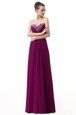 Elegant Sweetheart Sleeveless Floor Length Beading and Ruching Purple Chiffon