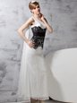 Admirable One Shoulder Sleeveless Chiffon Floor Length Side Zipper Prom Dress in White And Black for with Lace