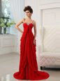 Red Prom Gown Prom and Party and For with Beading and Ruching Spaghetti Straps Sleeveless Brush Train Zipper