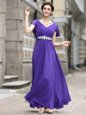 Romantic Chiffon V-neck Cap Sleeves Zipper Beading and Appliques and Ruching Hoco Dress in Purple