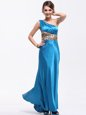 Dynamic One Shoulder Baby Blue Side Zipper Prom Gown Ruching Sleeveless Floor Length