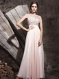 Enchanting Scoop Sleeveless Floor Length Beading Side Zipper Prom Evening Gown with Pink