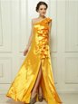 Gold Taffeta Zipper One Shoulder Sleeveless With Train Prom Evening Gown Brush Train Ruffles