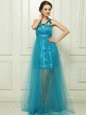 Noble Halter Top Teal Sleeveless Brush Train Belt With Train Dress for Prom