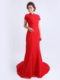 Amazing Red Column/Sheath Lace High-neck Cap Sleeves Lace With Train Backless Mother Of The Bride Dress Brush Train