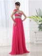 Stunning Chiffon One Shoulder Cap Sleeves Brush Train Side Zipper Beading and Ruching Prom Dress in Hot Pink