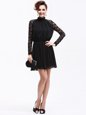 Exquisite Lace Mother Of The Bride Dress Black Zipper Sleeveless Knee Length