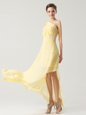 One Shoulder Light Yellow Sleeveless Chiffon Side Zipper Hoco Dress for Prom and Party