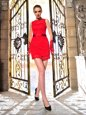 Fancy Scalloped Mini Length Column/Sheath Sleeveless Red Dress for Prom Lace Up