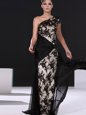 Black Evening Gowns Prom and Party and For with Lace One Shoulder Cap Sleeves Brush Train Side Zipper