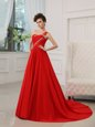 Sophisticated One Shoulder Red Sleeveless Silk Like Satin Court Train Zipper Red Carpet Gowns for Prom and Party