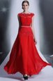 Sumptuous Scalloped Floor Length Column/Sheath Sleeveless Red Evening Dress Side Zipper