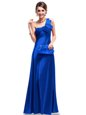 One Shoulder Floor Length Royal Blue Celebrity Inspired Dress Satin Sleeveless Ruching