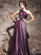 Floor Length Pink Prom Evening Gown One Shoulder Sleeveless Side Zipper