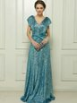 Sequins Teal Sleeveless Sequined Zipper Prom Evening Gown for Prom and Party