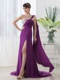 Attractive One Shoulder Purple Elastic Woven Satin Zipper Prom Party Dress Sleeveless With Brush Train Beading and Sashes|ribbons