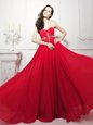 Comfortable Beading Prom Dresses Red Zipper Sleeveless Sweep Train