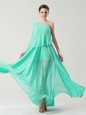 One Shoulder Sleeveless Chiffon Ankle Length Side Zipper Prom Party Dress in Turquoise for with Ruching