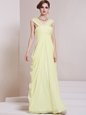 Light Yellow Chiffon Criss Cross Prom Party Dress Sleeveless Floor Length Ruching