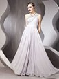Gorgeous One Shoulder Silver Sleeveless Beading Floor Length Prom Dresses