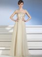 Fancy Sleeveless Chiffon and Tulle Floor Length Side Zipper Dress for Prom in Champagne for with Appliques