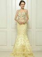 Custom Made Mermaid Light Yellow Side Zipper Dress for Prom Beading and Hand Made Flower Sleeveless With Brush Train