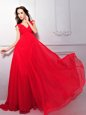 Glorious Coral Red V-neck Neckline Lace Prom Evening Gown Sleeveless Zipper