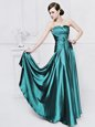Fine Teal Strapless Neckline Ruching Homecoming Dress Sleeveless Lace Up