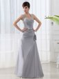 Colorful Grey Lace Up Halter Top Beading and Ruching Dress for Prom Satin Sleeveless