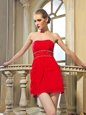 High Quality Red Column/Sheath Chiffon Strapless Sleeveless Beading Mini Length Lace Up Prom Party Dress