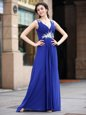Blue Column/Sheath Beading and Appliques and Ruching Prom Dress Zipper Chiffon Sleeveless Floor Length
